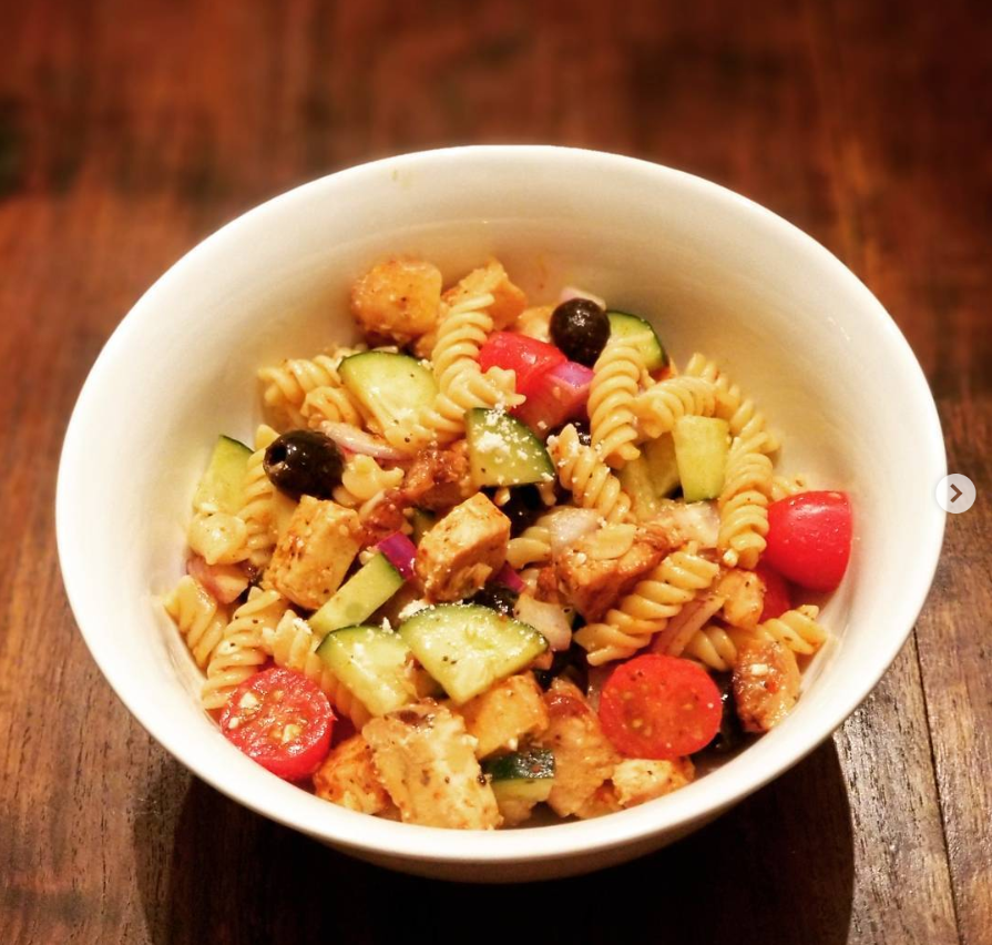 grilled chicken pasta salad - Get the recipe and steps below….