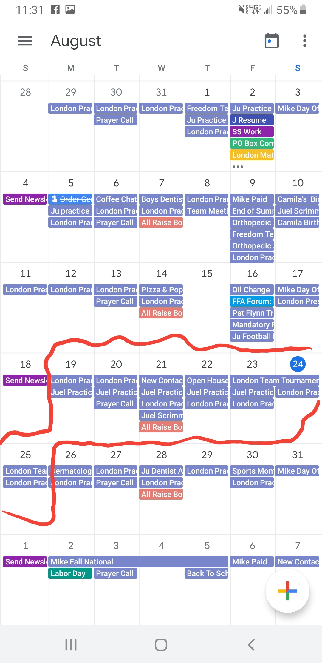 Here's my calendar - notice the packed week of football practices and our tournament weekend.