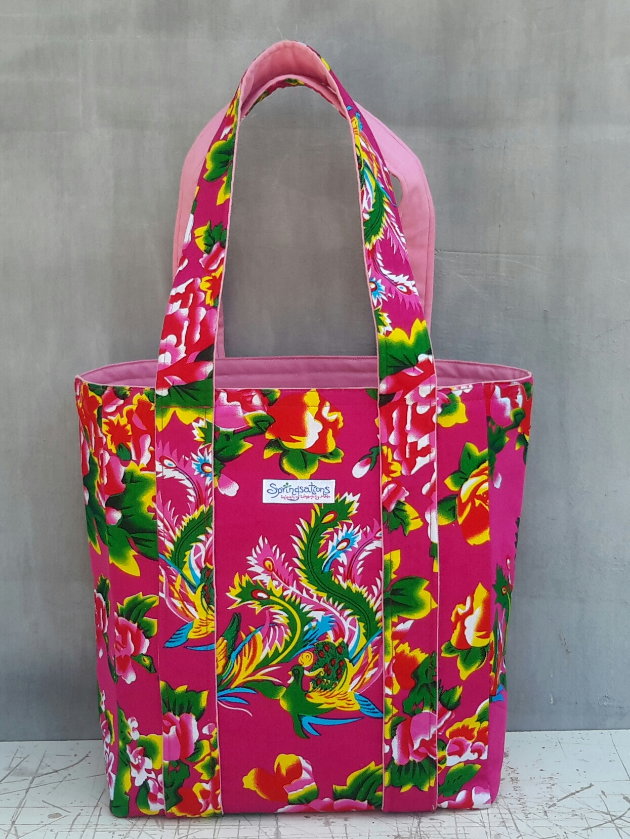 The Airplane Tote in Fuchsia with Pink Lining