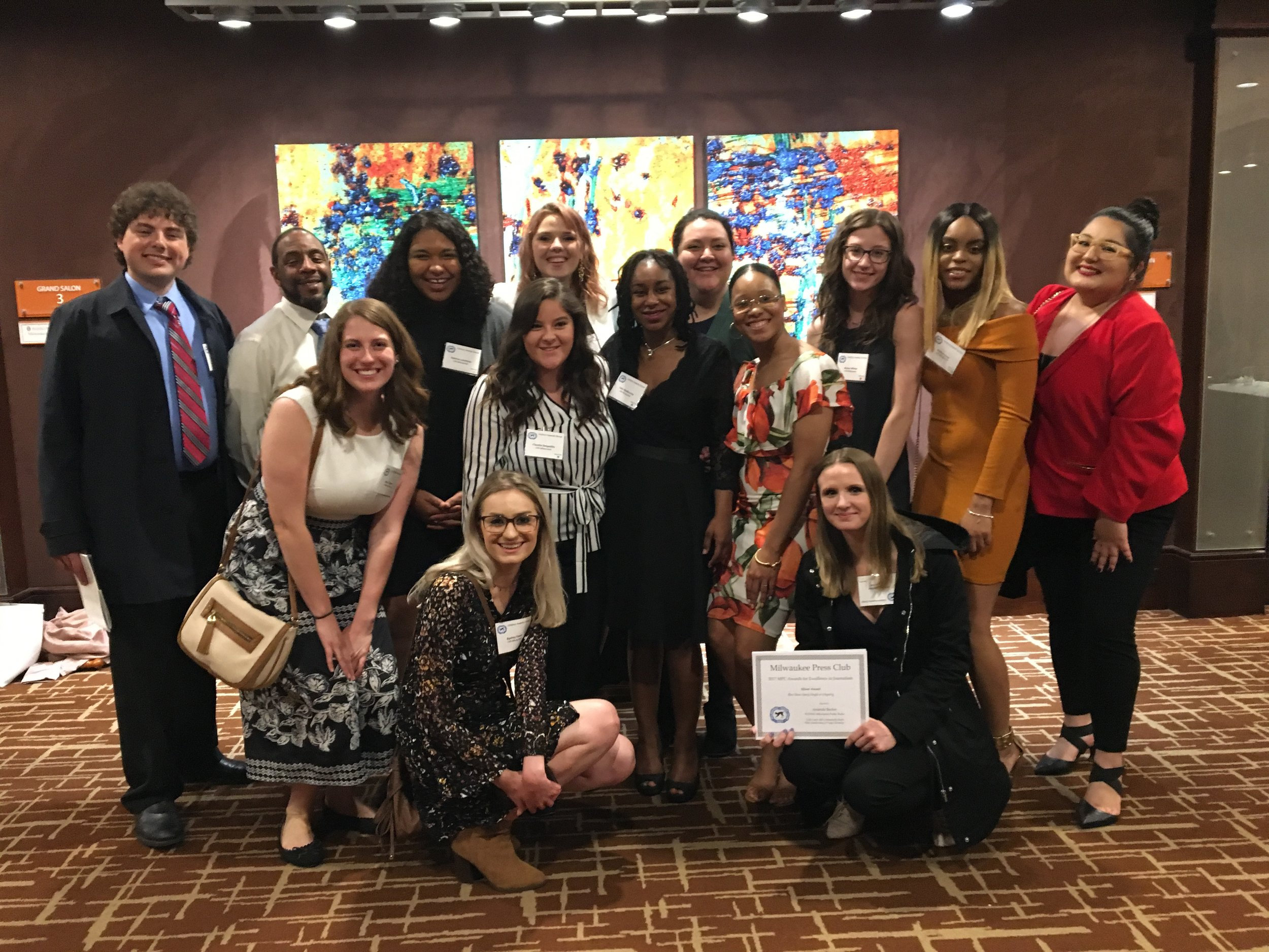 University of Wisconsin-Milwaukee student journalists and award winners at the Milwaukee Press Club Gridiron Dinner, May 2018. (Honorees: Jodi Kantor and Megan Twohey, New York Times)