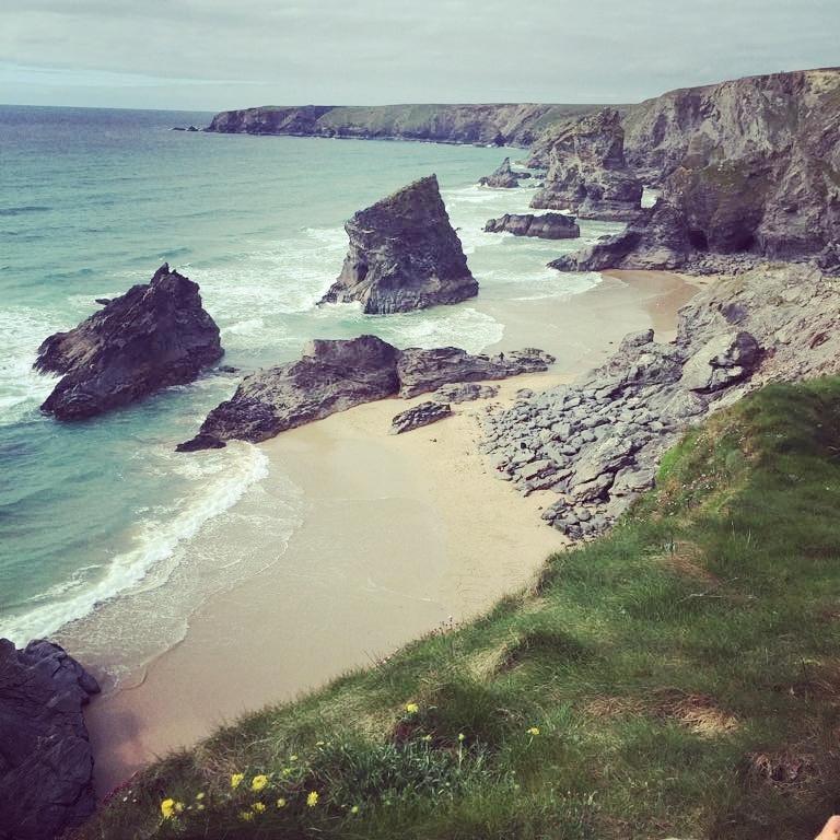 Bedruthan Steps beach.