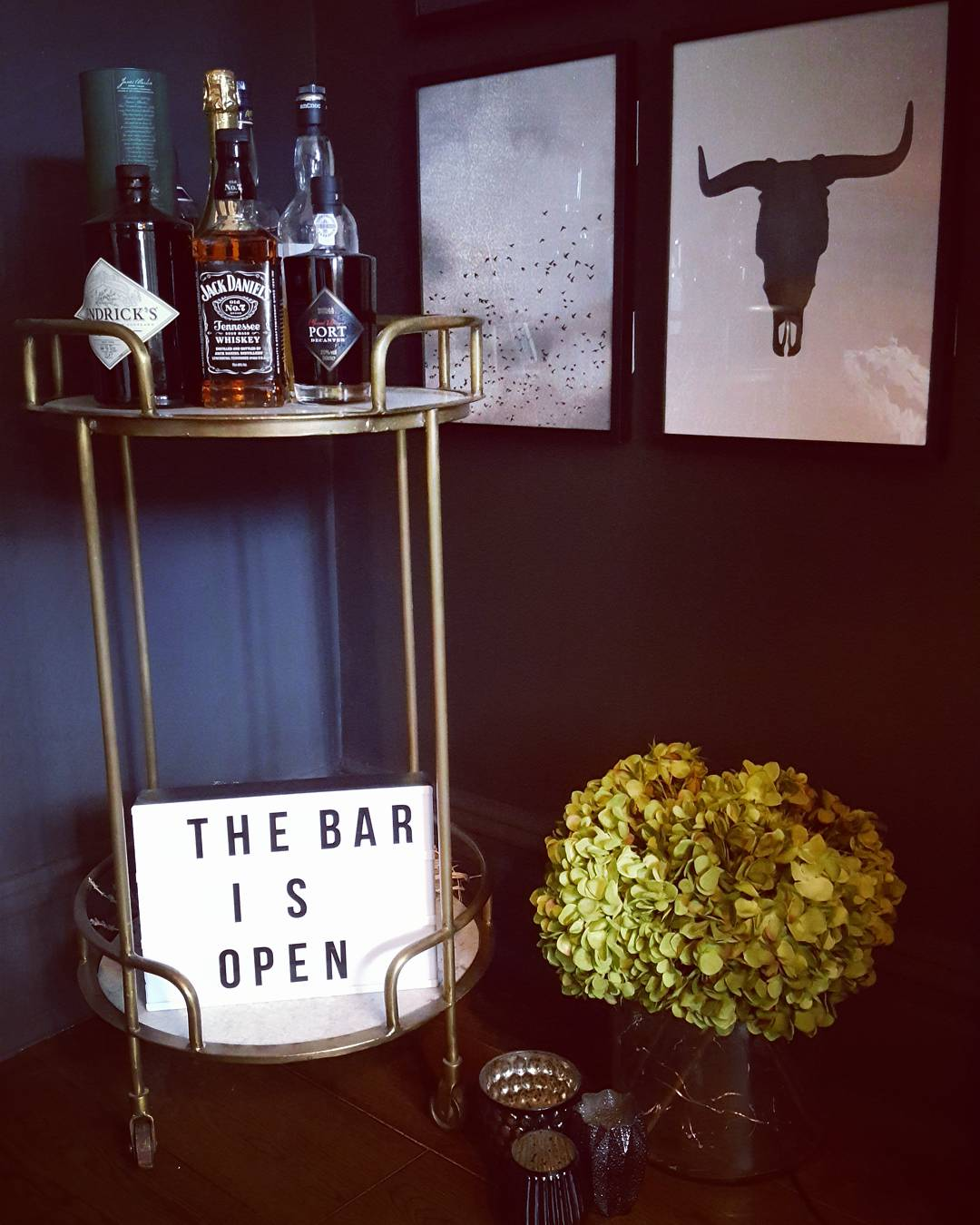 Serious home bar goals in the corner courtesy of the Gatsby from  Rockett St George