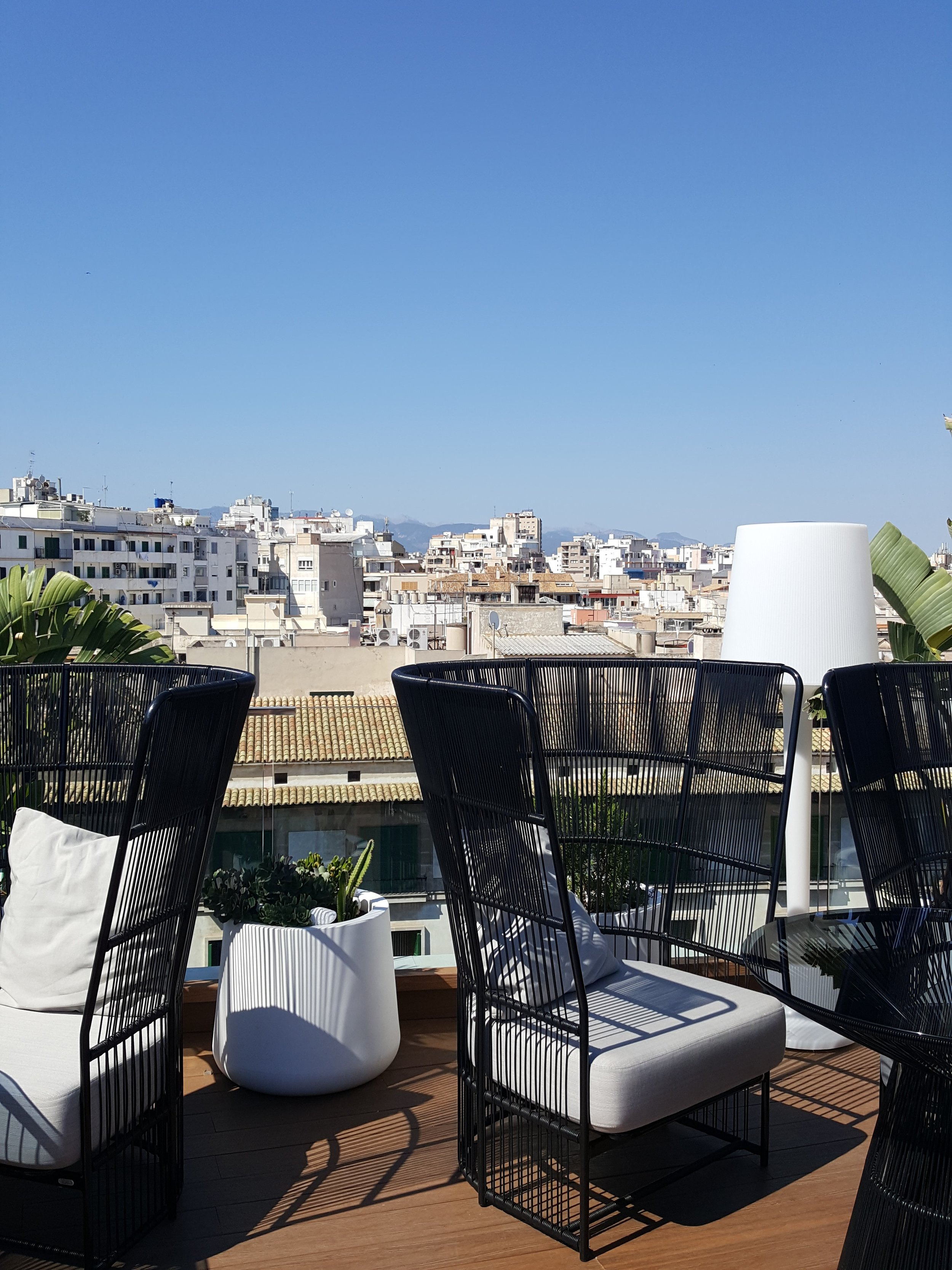 The Scandi style outdoor seating on the roof terrace of Hotel Nakar