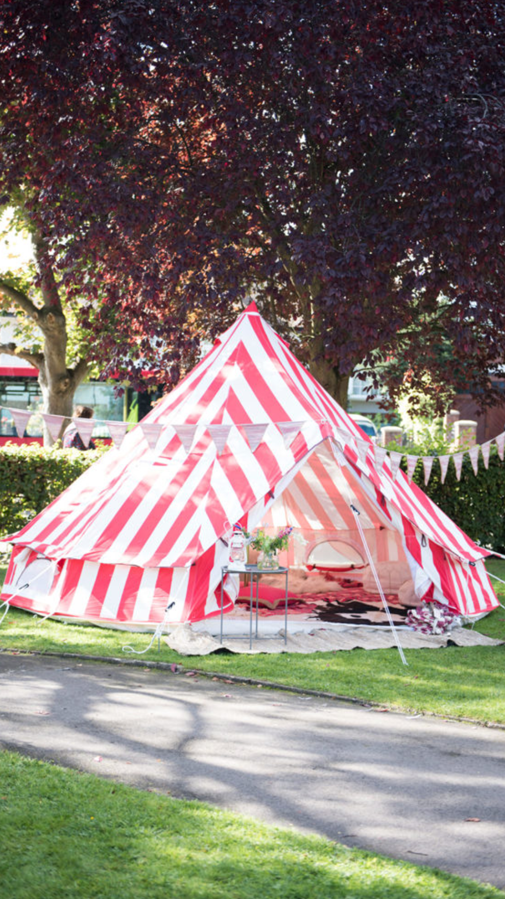 The  Glam Camping Co  transformed a quiet corner of the Church grounds into a glamorous insta meet up with their gorgeous Strawberries & Cream bell tent.