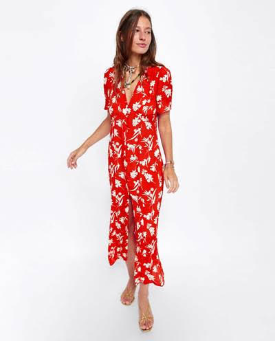 Red patterned dress from  Zara