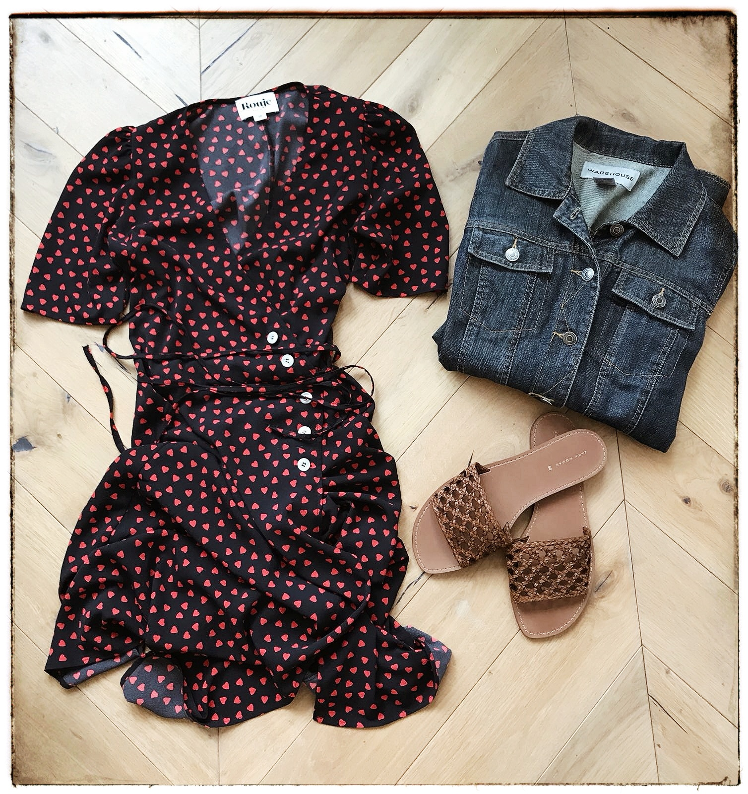 Rouje  dress,  Zara  Sandals,  Warehouse  denim jacket (old)