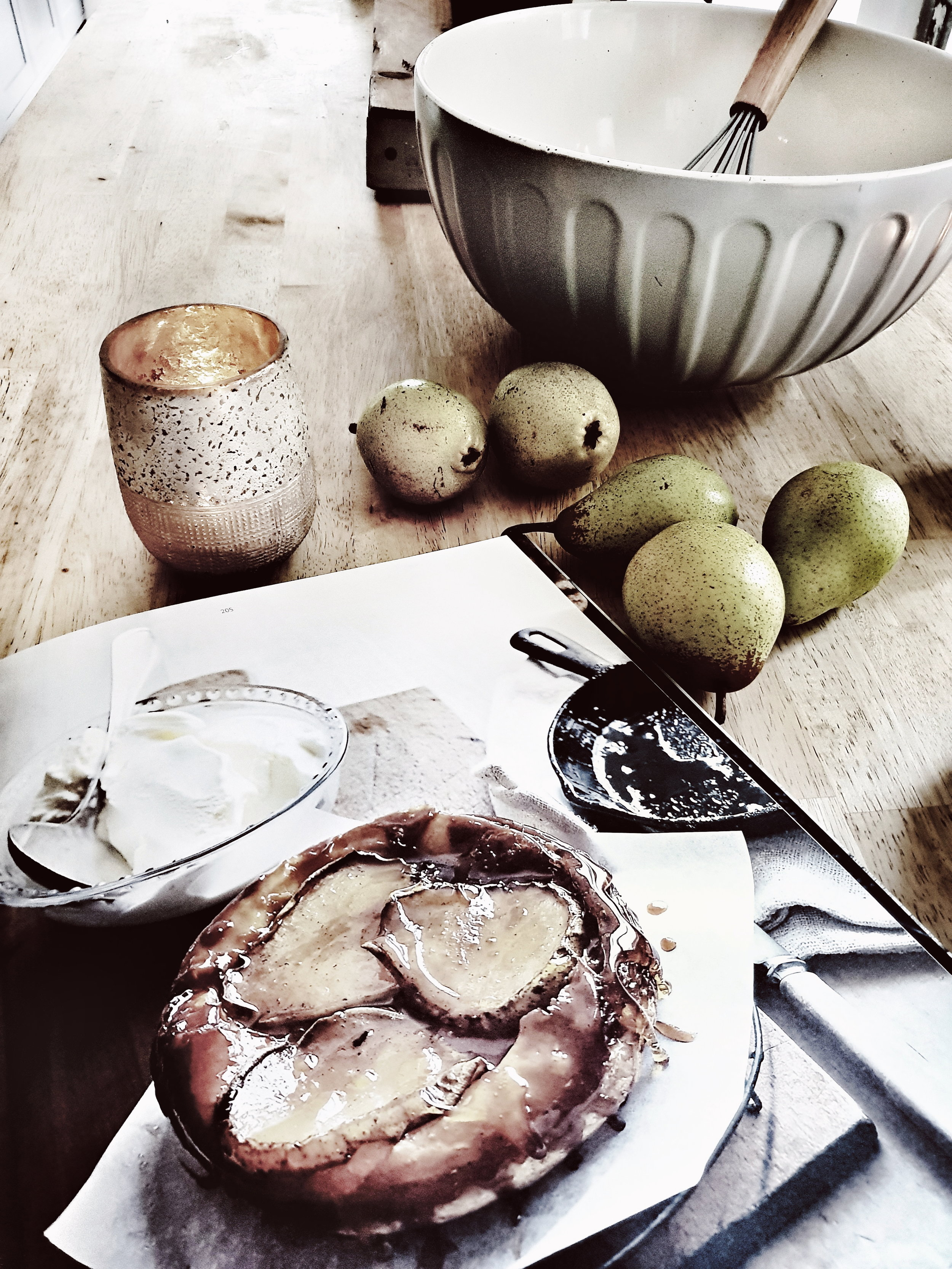 Bowl  and whisk pictured from the Rural Retreat range. Behold the Maple Pear Tart Tatin of dreams