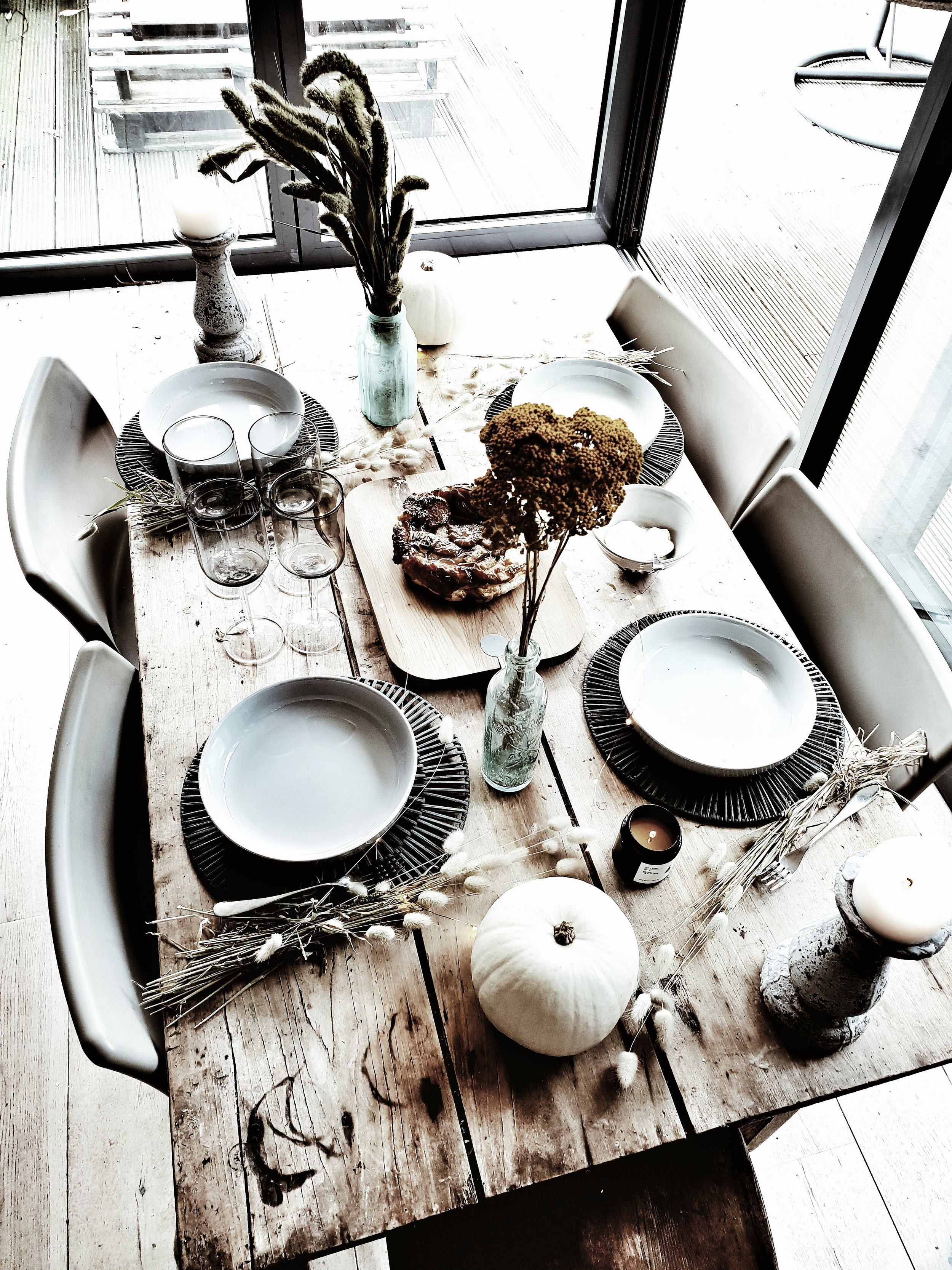The dark grey table mats look great against my vintage farmhouse table. They are available in store but not online