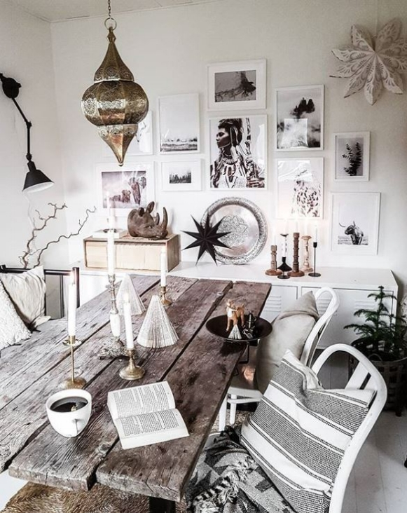 Cool white Christmas with a boho twist in the Swedish home of  @bytrineravn