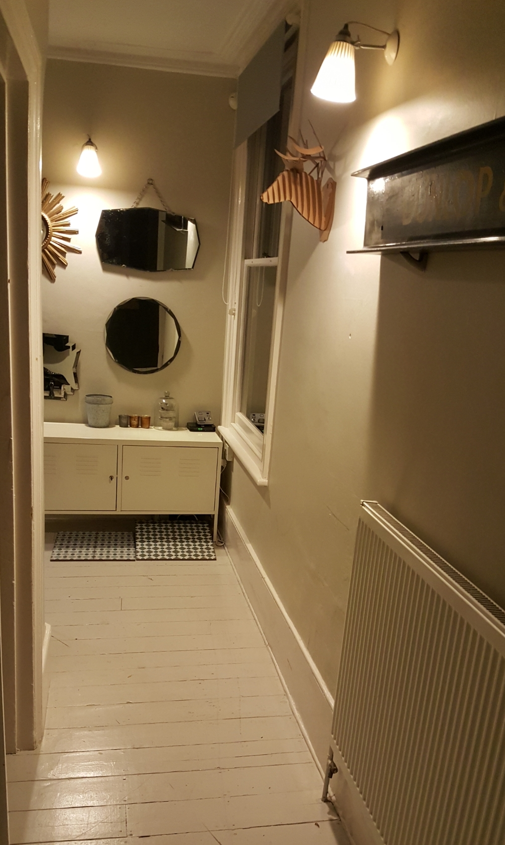 The hallway after my initial attempts to brighten it up by painting the walls and floors in Slipper Satin