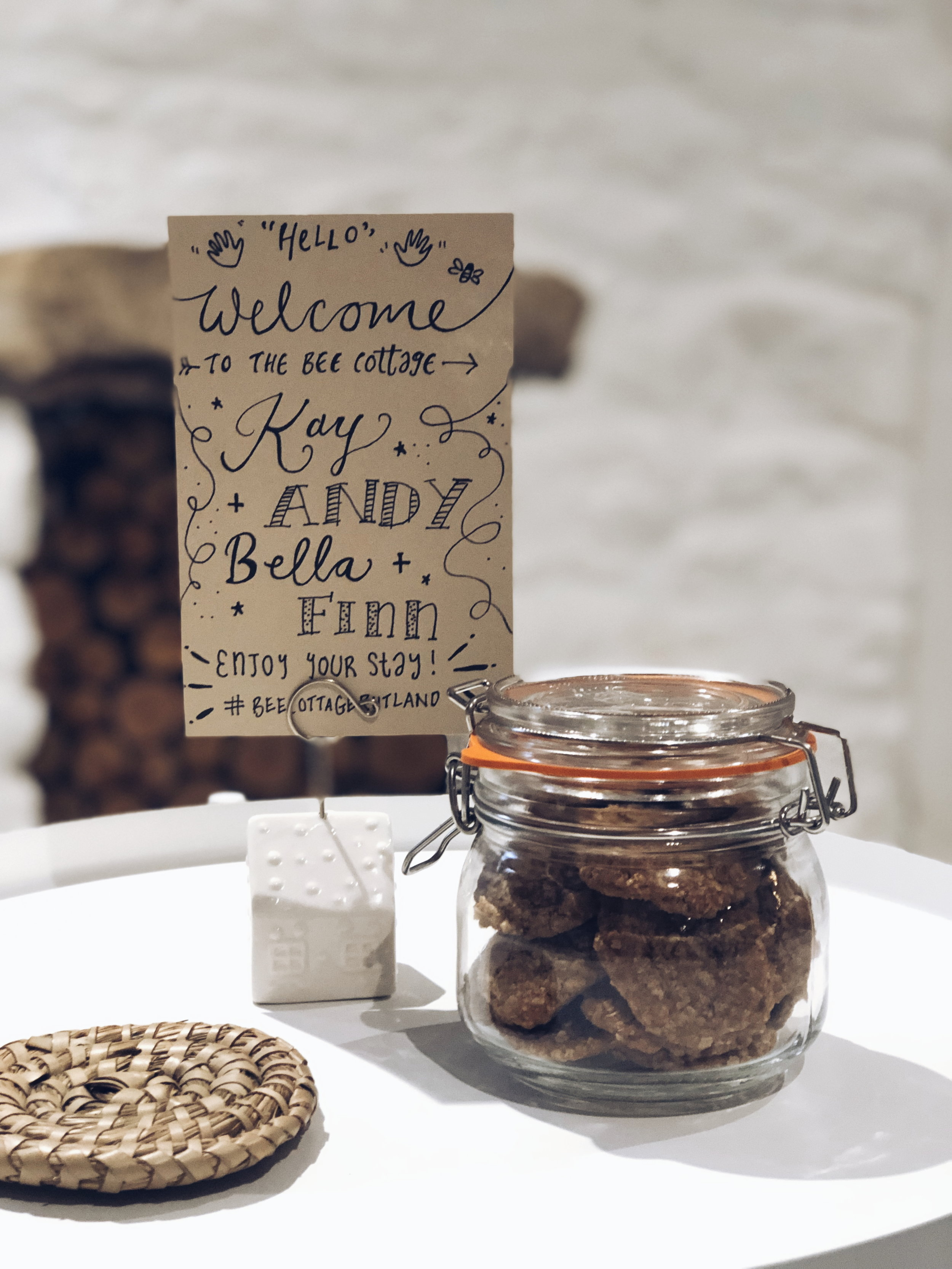 Lots of welcoming touches at the cottage like these biscuits and note