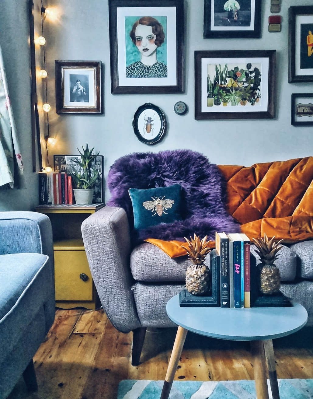 Living room with cosy throws
