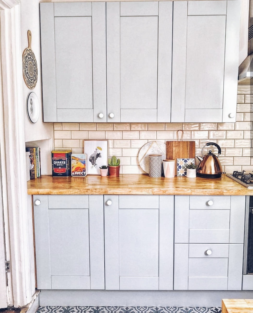 Vic's  kitchen with an eyecatching tiled floor