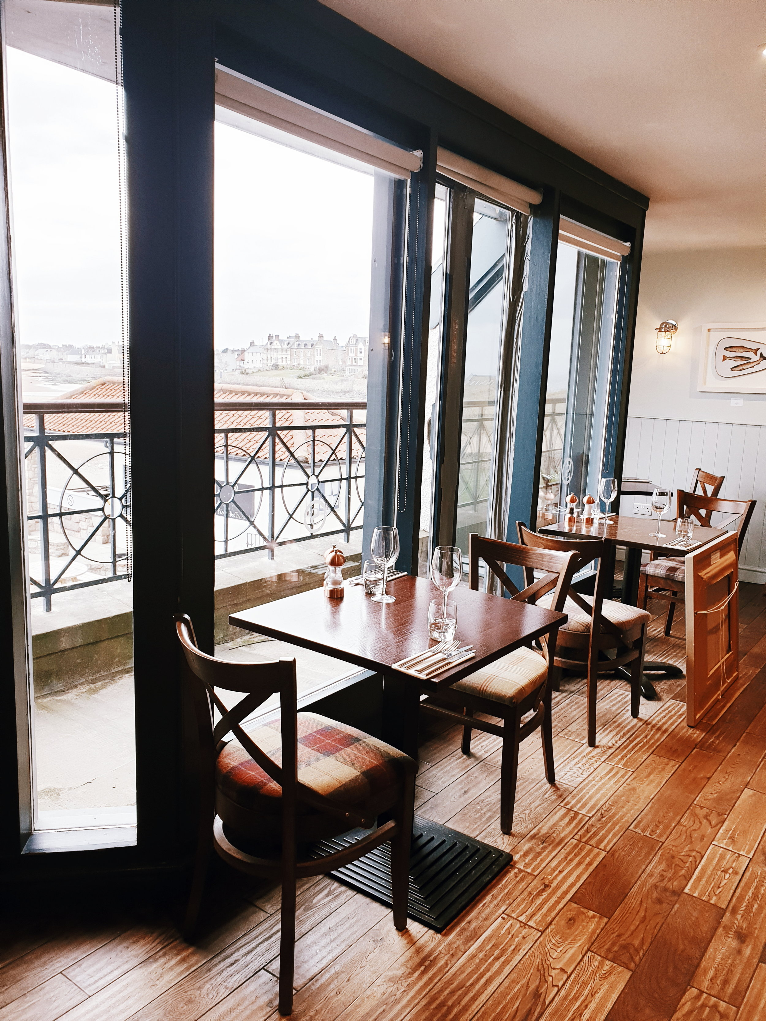 The upstairs dining room with great views of the beach