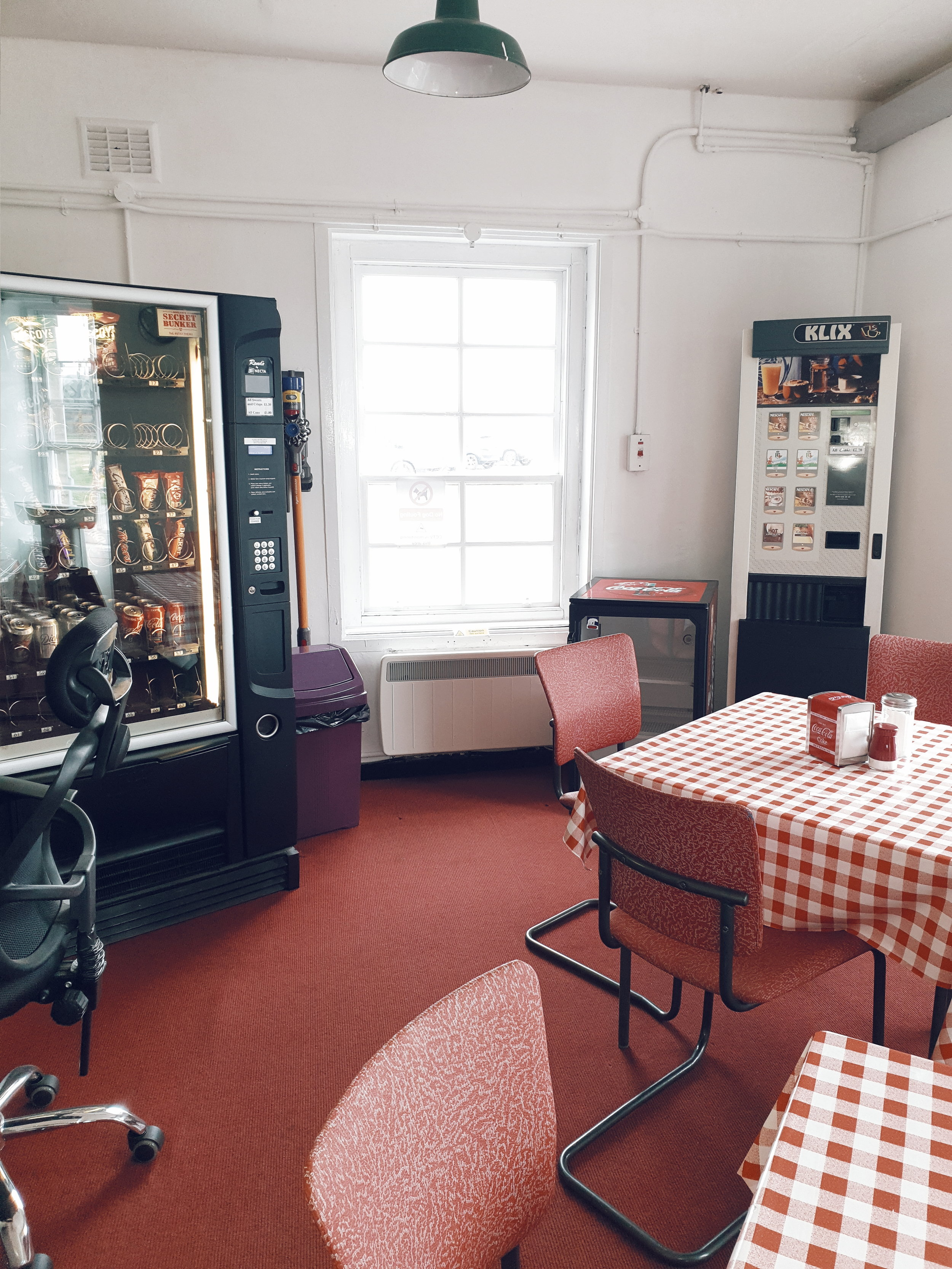 The err retro cafe which looks like it is still trapped in the Cold War era
