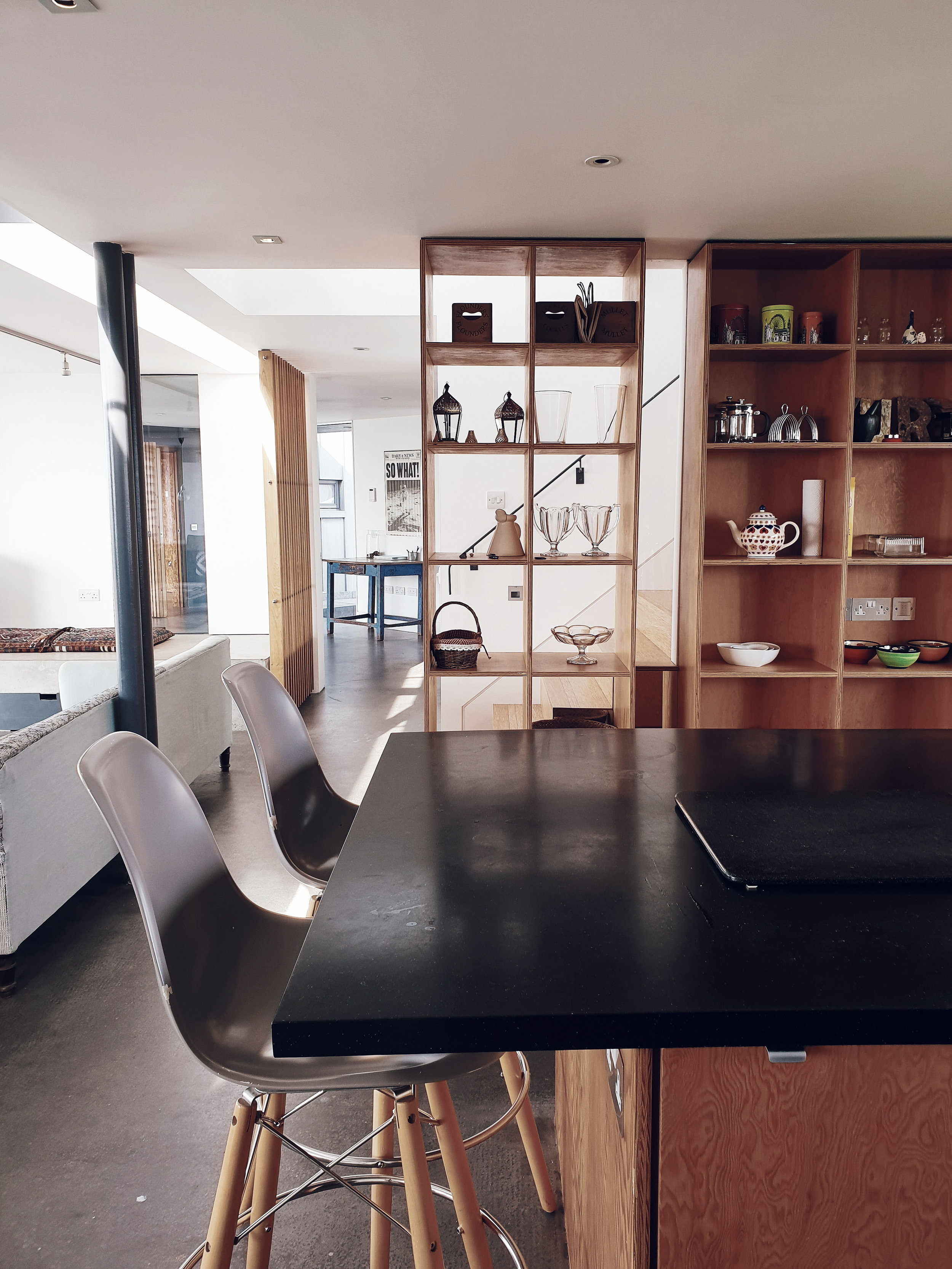 There is a huge island in the centre of the kitchen which makes it a really sociable space