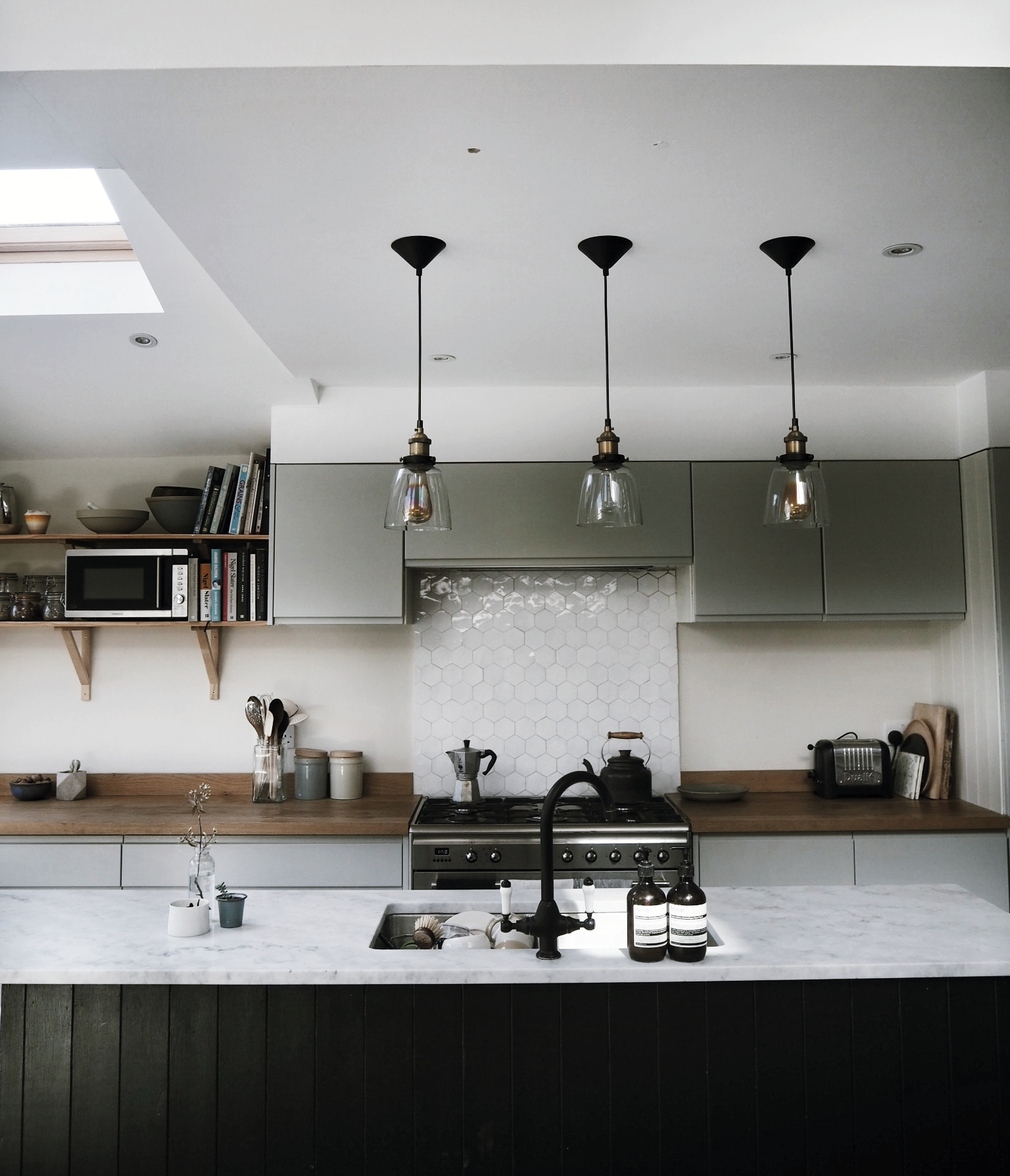 Modern Rustic David Bailey getting to grips with her ISOs and Apertures in Emily's gorgeous kitchen