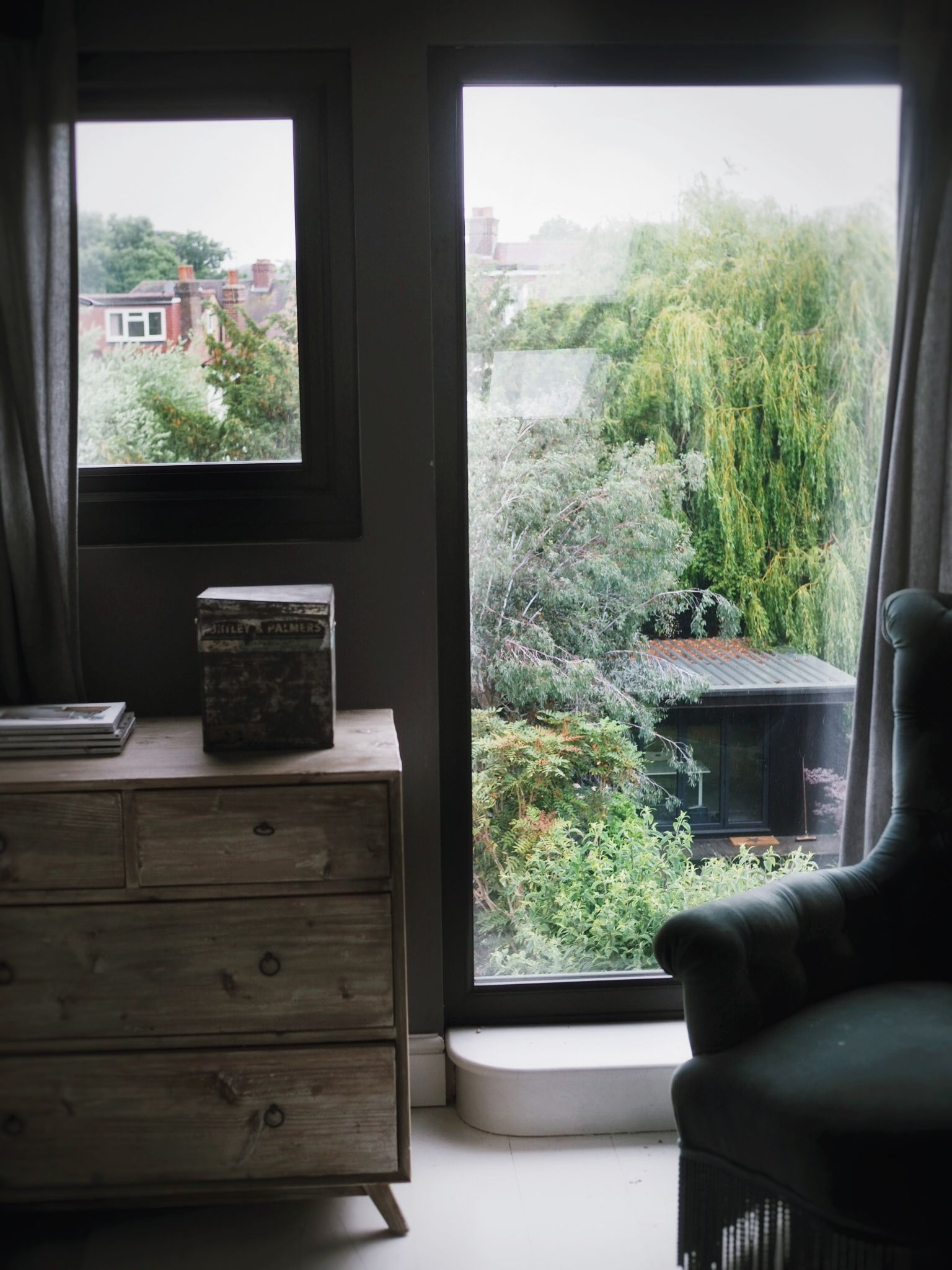 I love sitting in this corner looking out over the garden