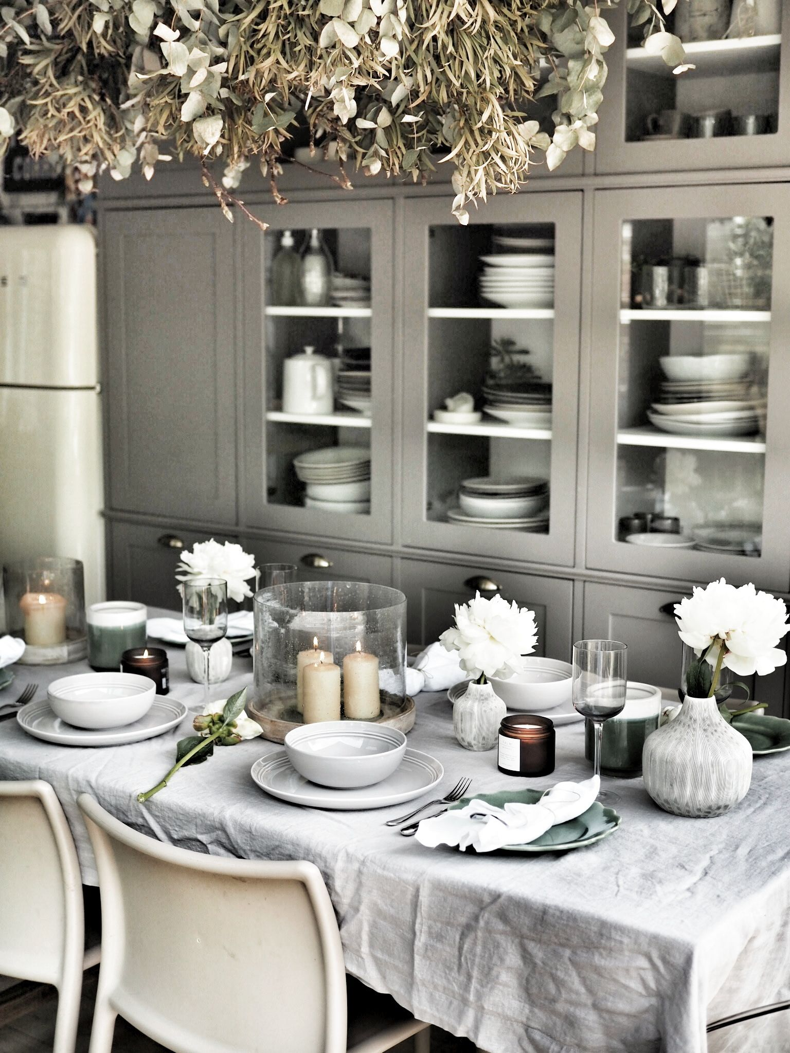 Table laid with the beautiful, simple  Marlowe dining set
