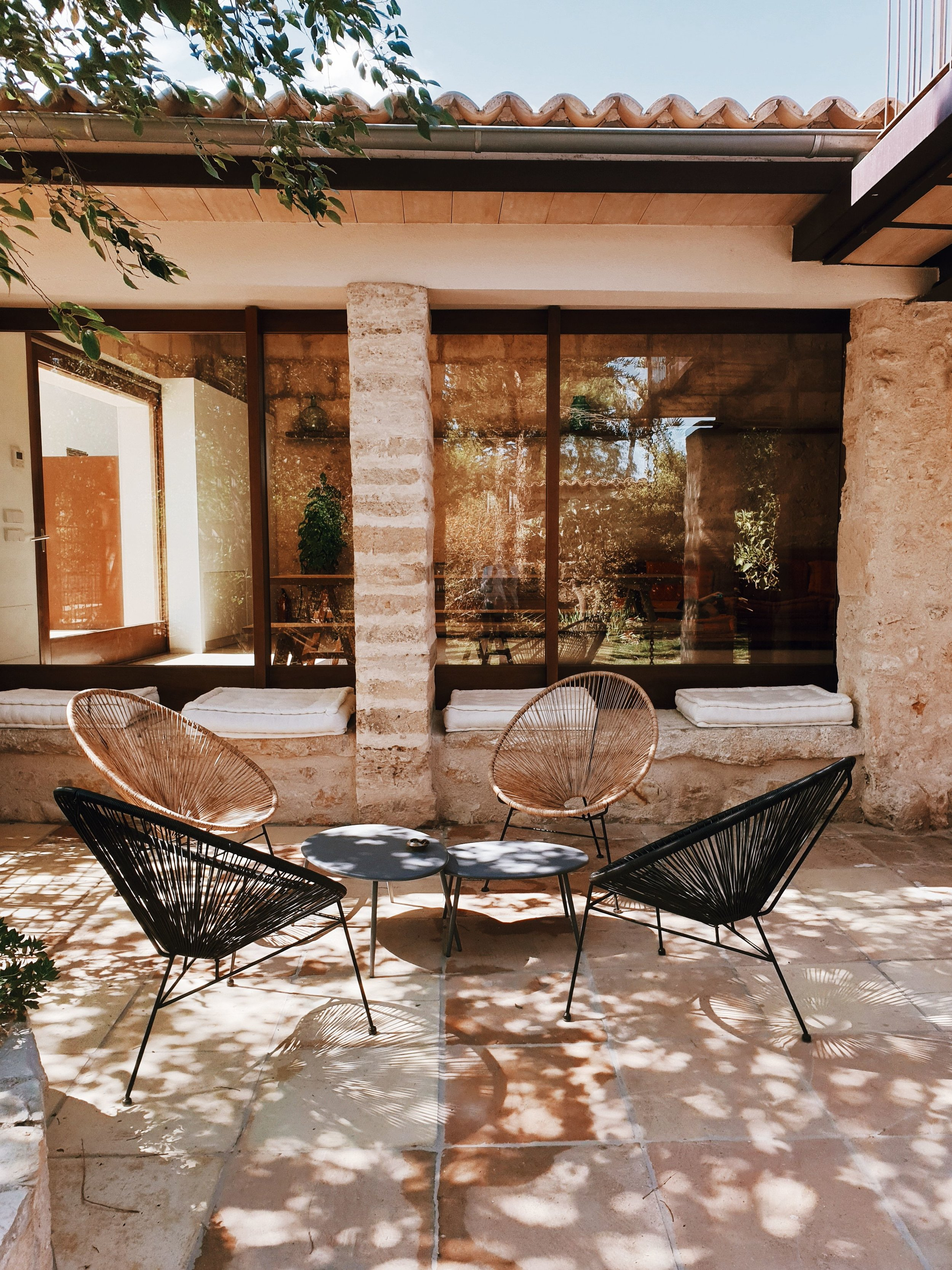 One of the the gorgeous outdoor seating areas at the Villa