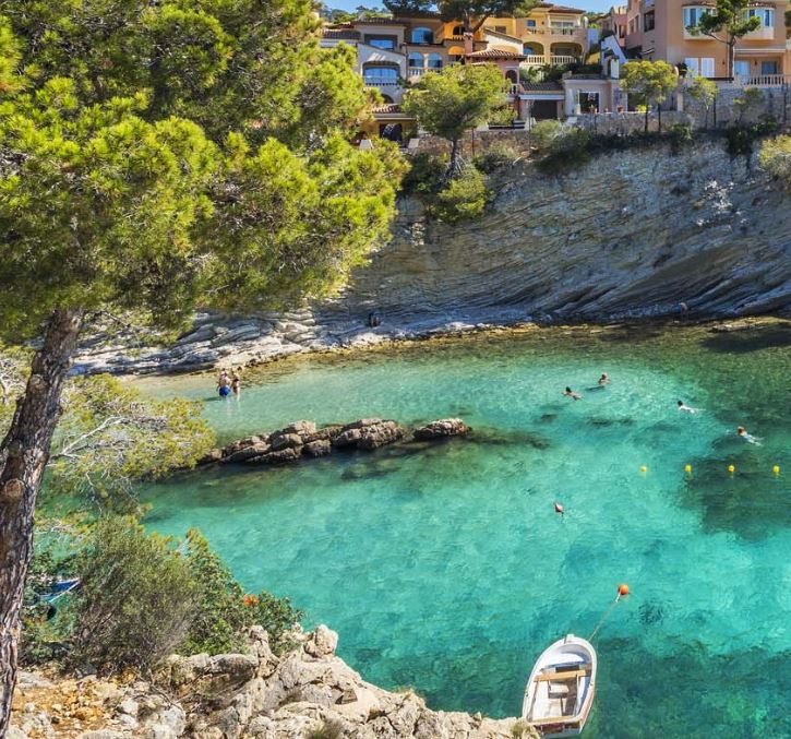 One of the idyliic coves at Cala Fornells
