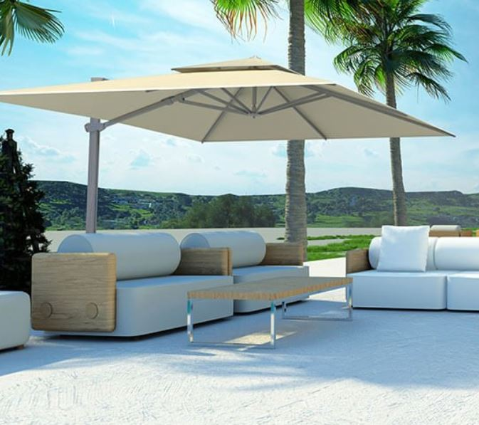 A Cantilevered parasol from the Solero range.