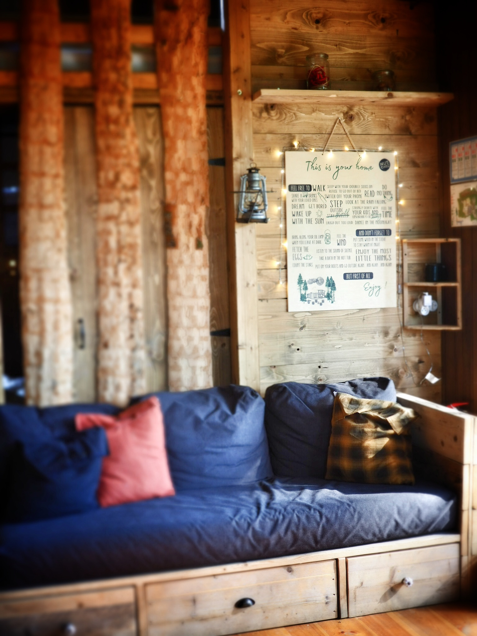 The sofa had lots of clever storage so the cabin never felt cluttered