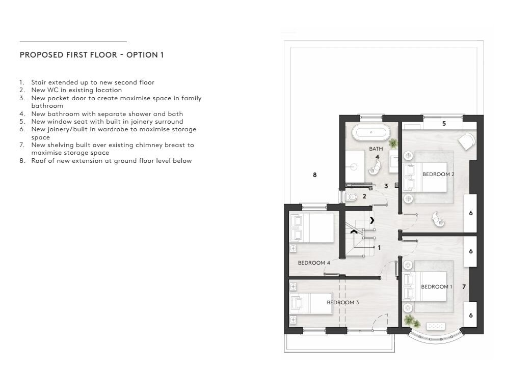 Detail Architects have drawn up some plans to show how we could incorporate the shower into the bathroom