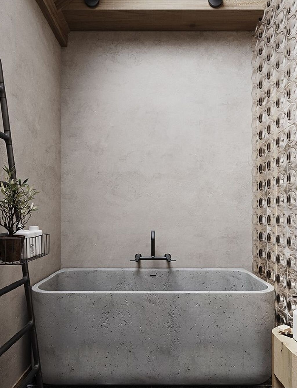 I love this concrete bath from @viaparissi but wonder if it might be a bit much in a family bathroom?