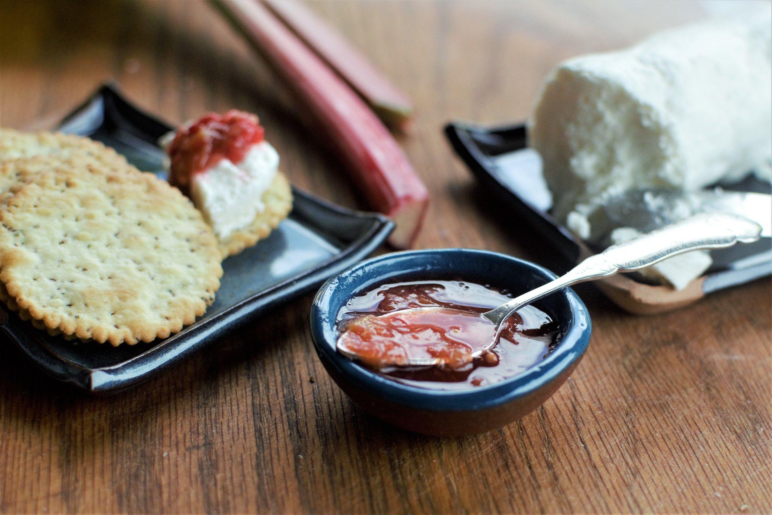 Rhubarb Ginger Mostarda with Goat Cheese