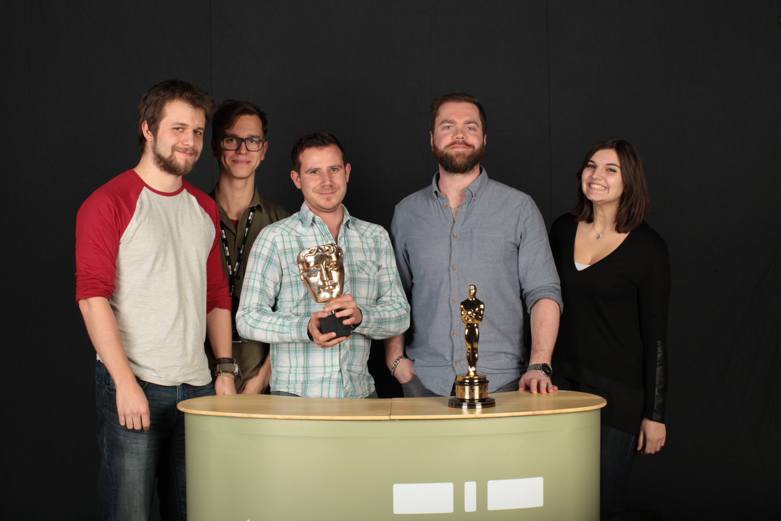 My grading department at Double Negative with the BAFTA and Oscar we won for Best Special Visual Effects in Interstellar.