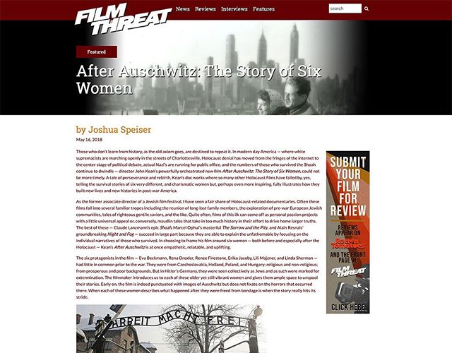 "Sharing a review of our film After Auschwitz from filmthreat.com: 🗣 ""Those who don't learn from history, as the old axiom goes, are destined to repeat it. In modern day America — where white supremacists are marching openly in the streets of Charlottesville, Holocaust denial has moved from the fringes of the internet to the center stage of political debate, actual Nazi's are running for public office, and the numbers of those who survived the Shoah continue to dwindle — director John Kean's powerfully orchestrated new film After Auschwitz: The Story of Six Women, could not be more timely. A tale of perseverance and rebirth, Kean's doc works where so many other Holocaust films have failed by, yes, telling the survival stories of six very different, and charismatic women but, perhaps even more inspiring, fully illustrates how they built new lives and new histories in post-war America."" 📽 MORE AT: http://filmthreat.com/reviews/after-auschwitz-the-story-of-six-women/ 💻 #film #filmreview #filmthreat #movies @filmthreat"