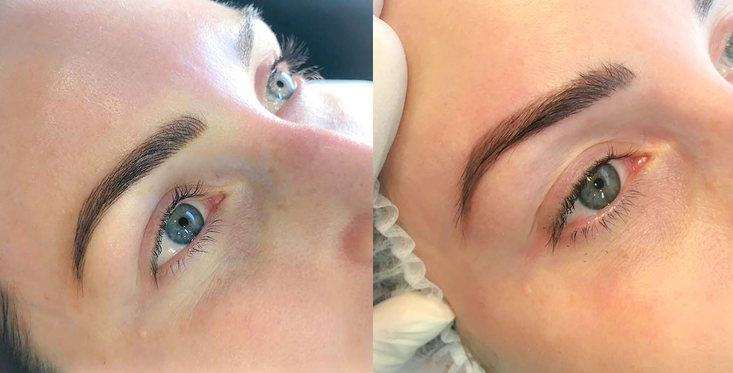 Left: First Initial Feathering Appointment. Right: During the Fill in Appointment