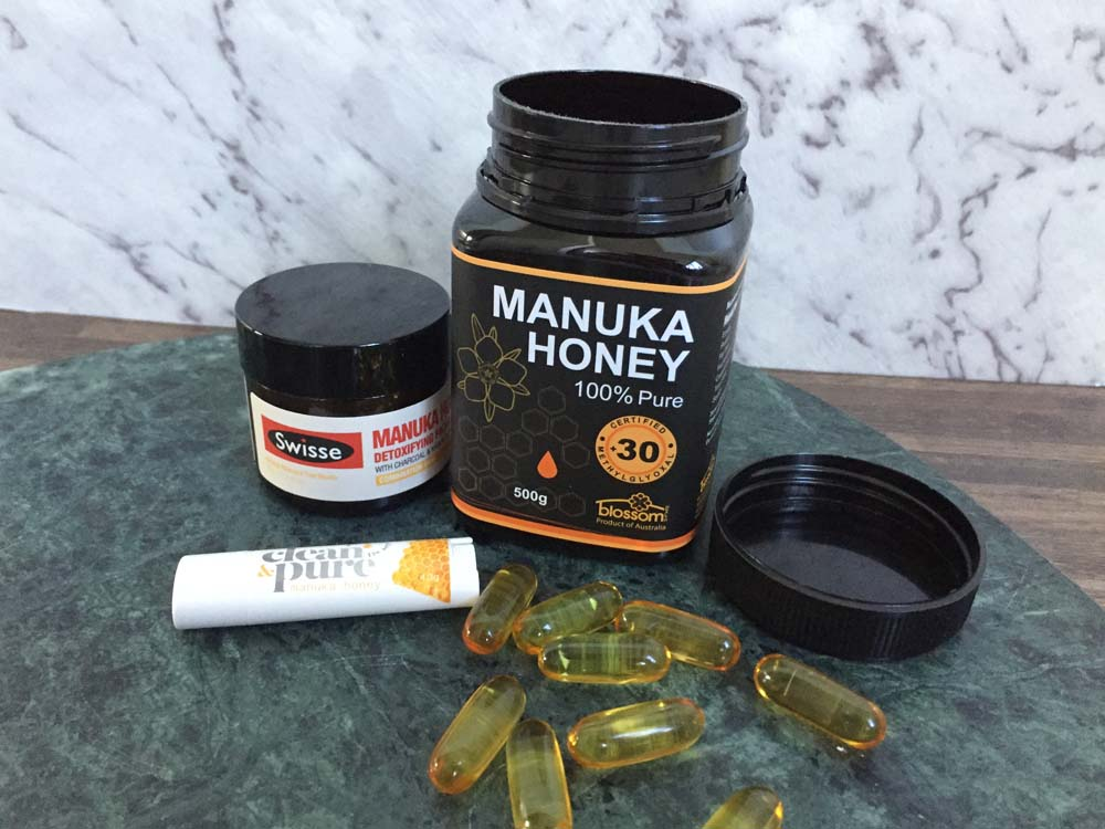 Swisse Manuka Honey Detoxifying Facial Mask, 100% Pure Manuka Honey by Blossom, Clean & Pure Manuka Honey Lip Balm and Olive Oil Supplements