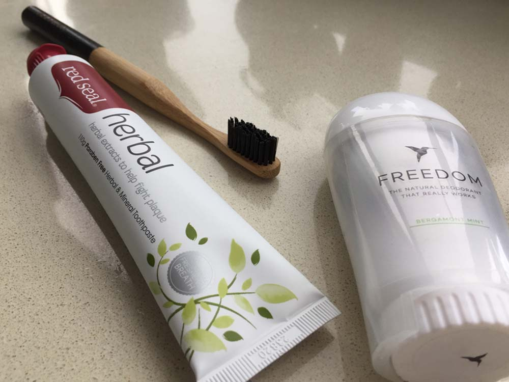 Red Seal Paraben Free Herbal & Mineral Toothpaste, Freedom Natural Deodorant in Bergamont and Mint