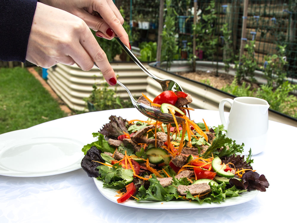 Serving up the Thai Beef Salad onto Plates