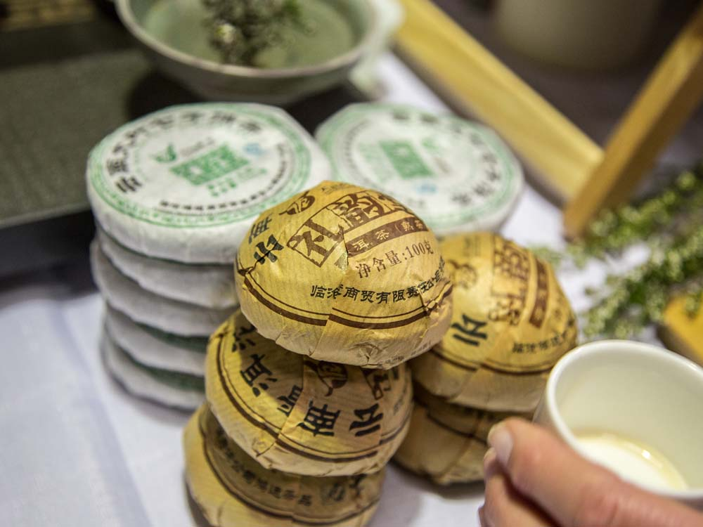 Traditional Chinese Tea Cake -Pu'er or Pu-erh Fermented Tea produced in Yunnan Province
