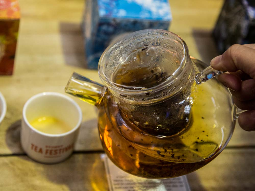 Drinking Tea Leaves from as Tea Pot; Sydney Tea Festival