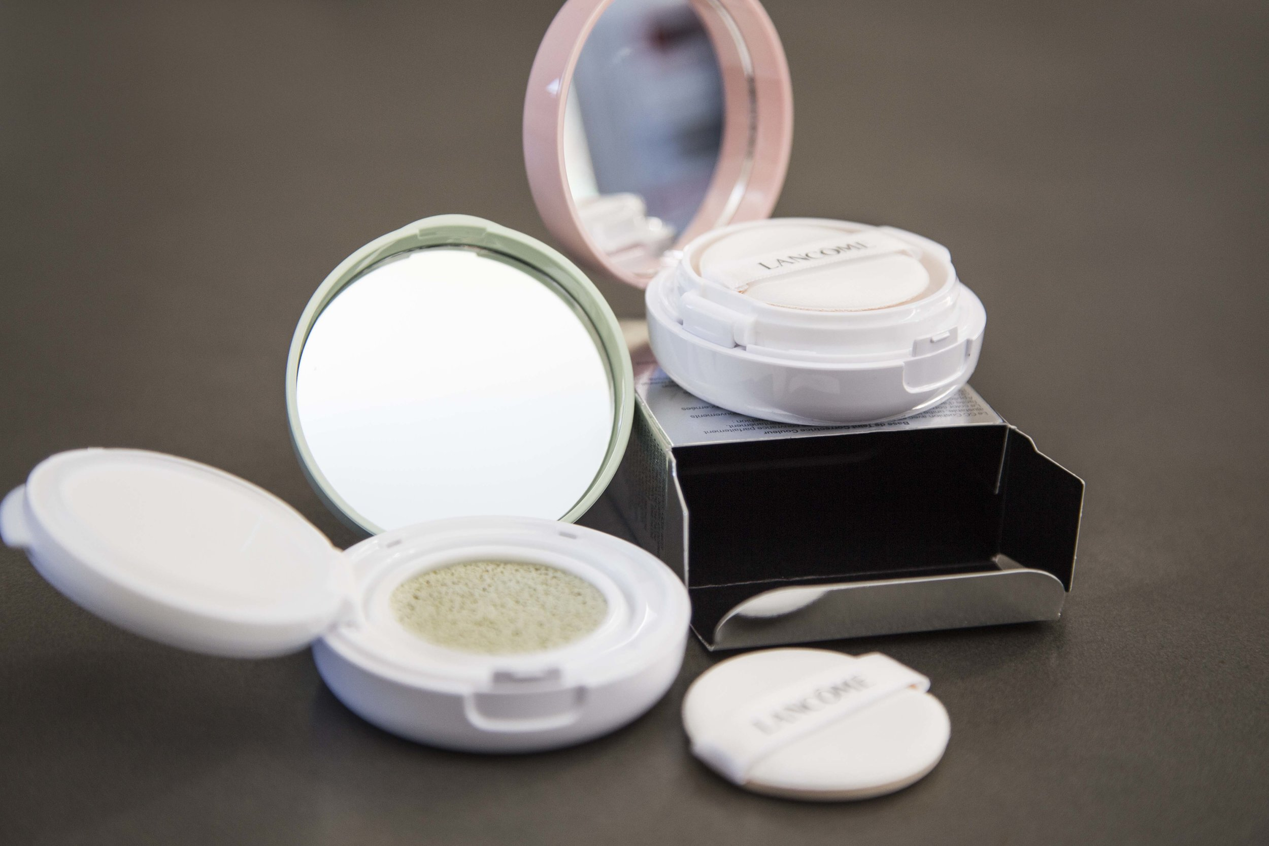 The Low Down on Colour Correcting Concealers;Lancôme Miracle CC Cushion Colour Correcting Primers in Green and Pinky Peach