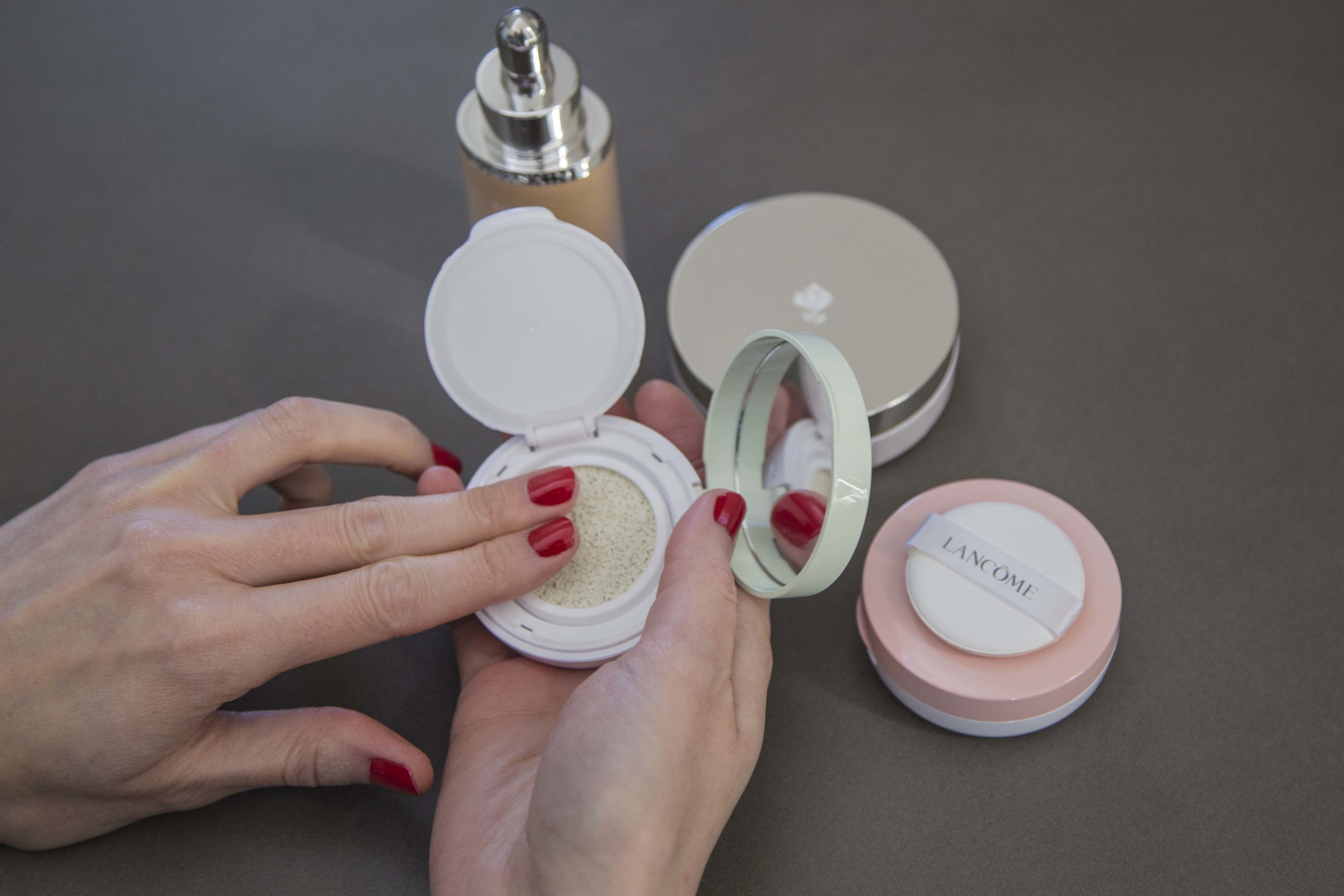 Simple Colour Correcting Concealers Guide;Lancôme Miracle CC Cushion Colour Correcting Primers in Green and Pinky Peach