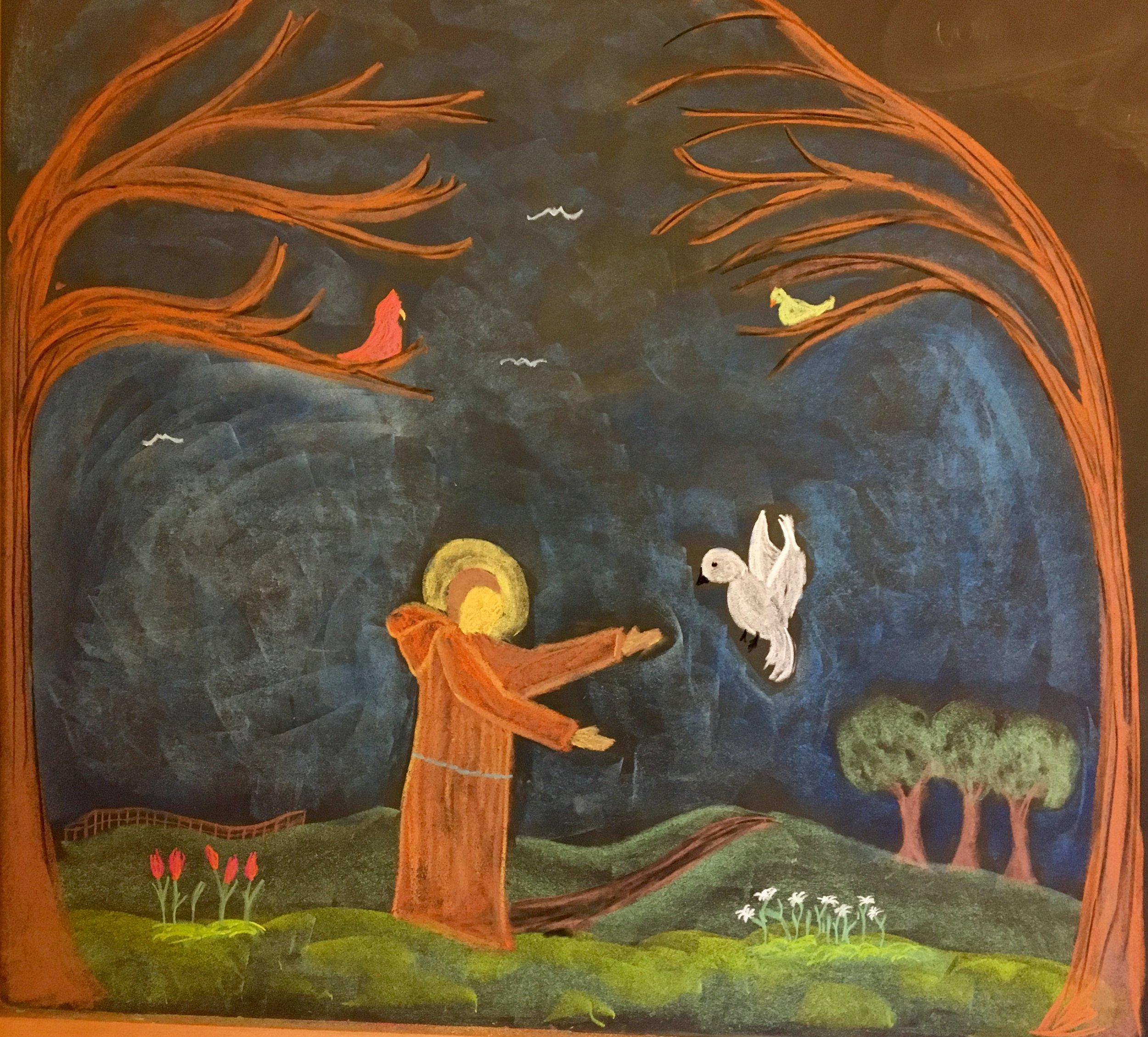 Saint Francis of Assisi drawn in chalk.