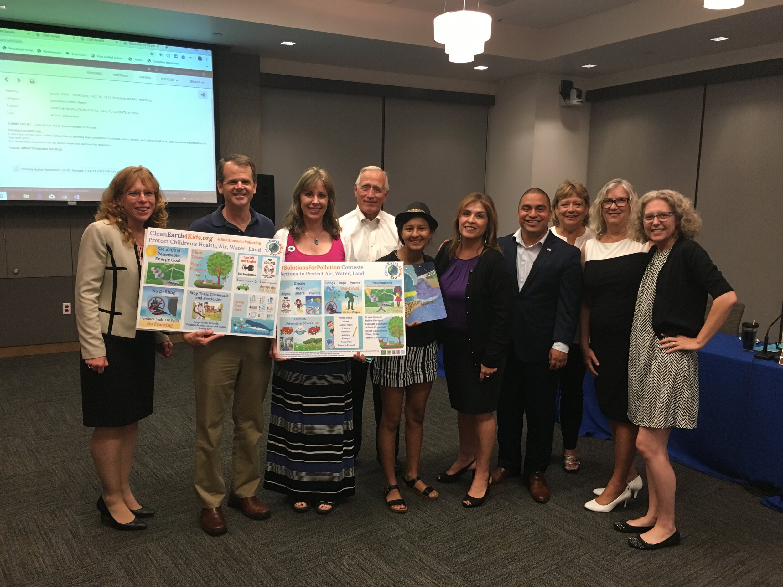 CleanEarth4Kids worked to get a Climate Action Resolution passed in Vista Unified