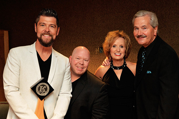 Jason Crabb, Aaron Crisler (publicist) and Tina & Philip Morris (managers) pose backstage during the 2018 Kentucky Music Hall of Fame Induction Ceremony on Friday, May 11, 2018 in Mount Vernon, KY at the Renfro Valley Entertainment Center. Photo courtesy Conduit Media