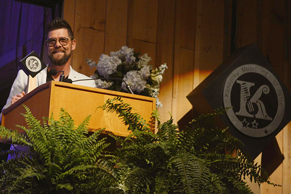 Crabb accepts his induction into the Kentucky Music Hall of Fame on Friday, May 11, 2018 in Mount Vernon, KY at the Renfro Valley Entertainment Center. Photo courtesy Conduit Media