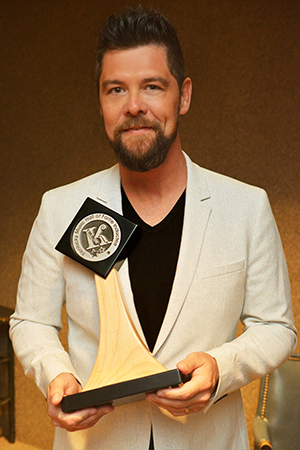 Jason Crabb poses backstage after his induction into the Kentucky Music Hall of Fame on Friday, May 11, 2018 in Mount Vernon, KY at the Renfro Valley Entertainment Center. Photo courtesy Conduit Media