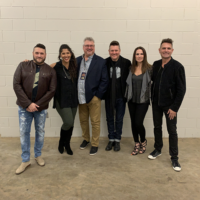AVALON poses with Don Koch (General Manager, Red Street Records) and Jay DeMarcus (Owner/CEO, Red Street Records) backstage during at stop in Tupelo, MS at the BancorpSouth Arena during the Greatest Hits Live Tour.  Courtesy Conduit Media / Red Street Records