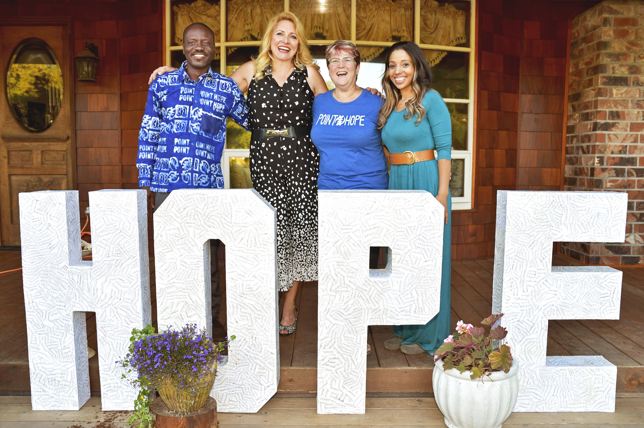 L-R: Adam Sandow (Point Hope Ghana In-Country Director,) Delilah (Founder of Point Hope,) Jan Haynes (Point Hope Executive Director,) Erin Haynes-Briggs (Point Hope Office Manager and Domestic Programs Coordinator)   Photo by Ron Finney / courtesy of Point Hope