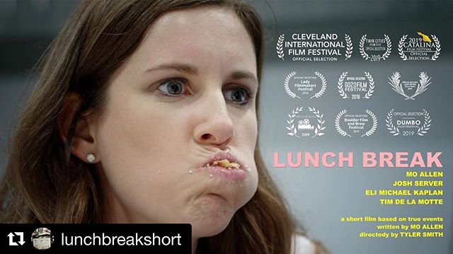 The Midwest has been good to us! ・・・ Lunch Break is back in the Midwest this weekend screening @semichfilmfest! Grateful to be selected for another festival thanks to the hard work and talent of our awesome cast and crew! If you happen to be in the Detroit area, our film screens November 2 at 3:30 pm. 🎞 . . . #lunchbreakshortfilm #filmfestival #femalefilmmakerfriday #femalefilmmakers #filmmakers #shortfilm #comedy #michigan #semichfilmfest