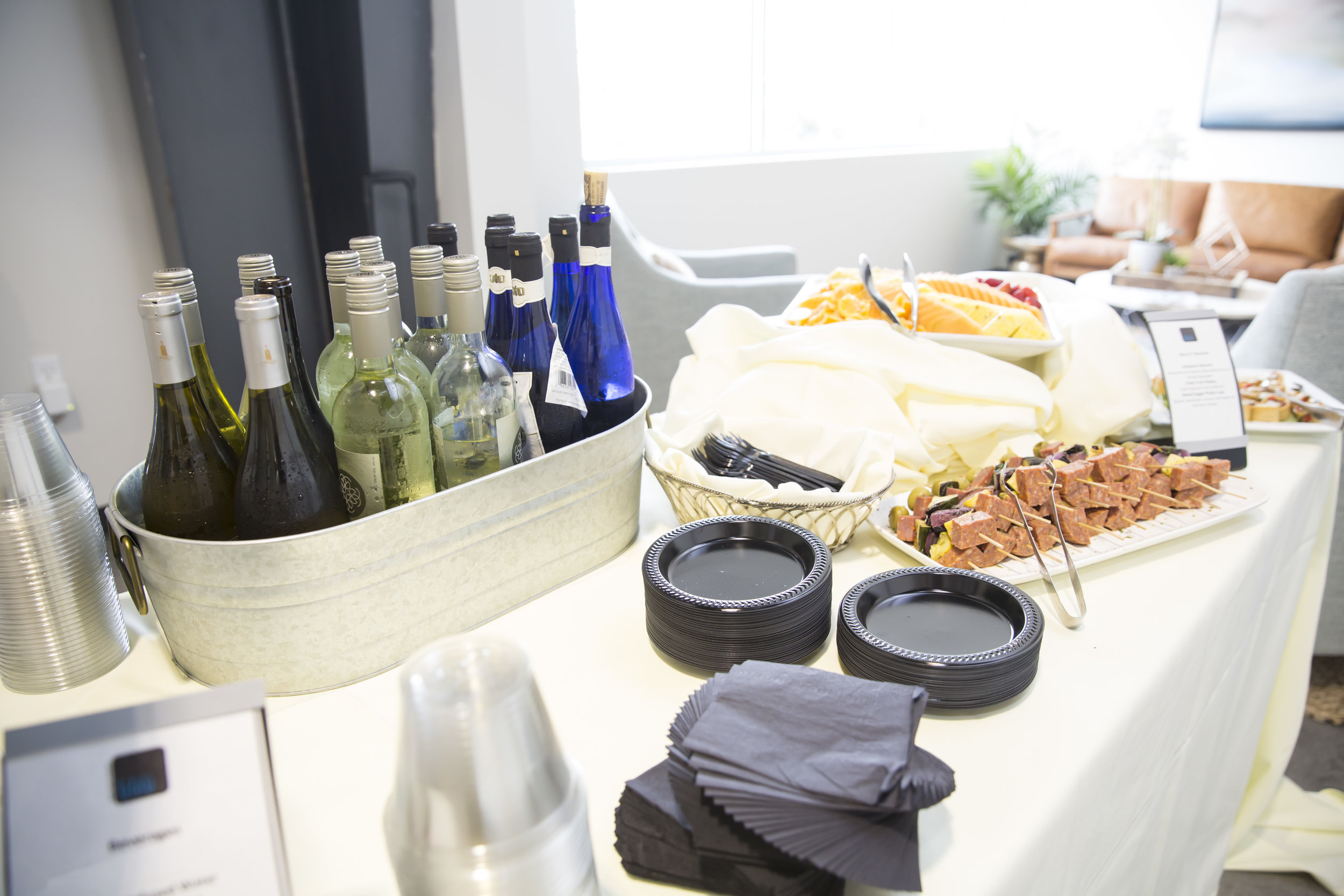 Delicious hors d'oeuvres and wine were provided to us by  Bleu Events