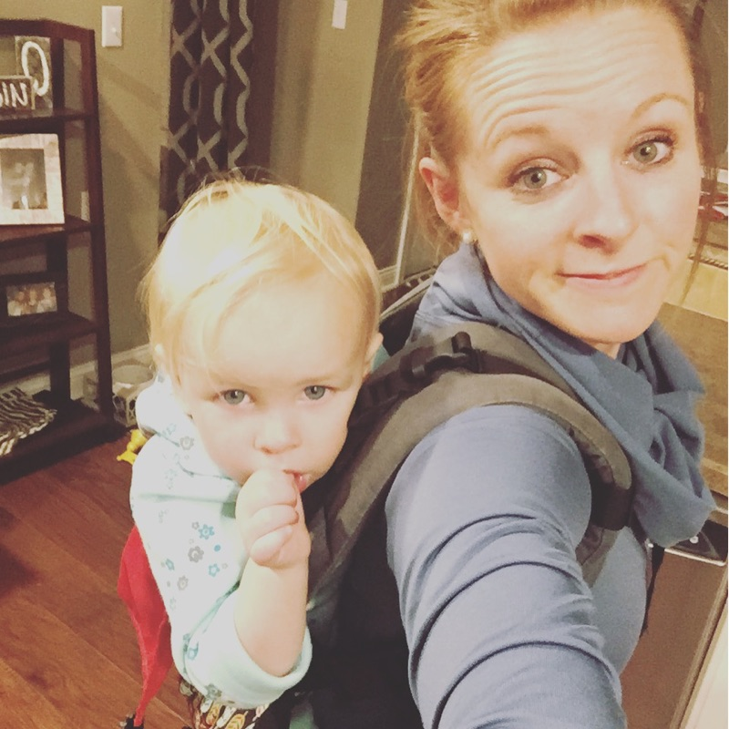 Meal prep with a toddler on your back - you just do what you have to do!